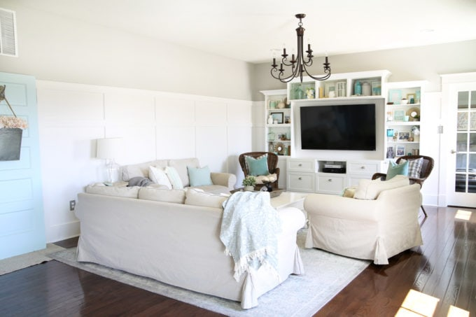 Neutral Living Room with Board and Batten and Slipcovered Sofas