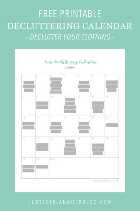 Free Printable Decluttering Calendar for Decluttering Clothes