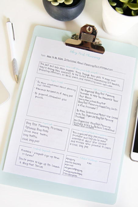 How to Plan Out Your Blog Posts and Be More Intentional, Free Printable Planning Worksheet