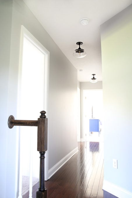Schoolhouse Semi-Flush Light Fixtures in the Hallway