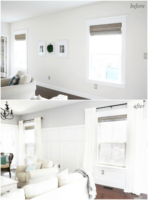 Board and Batten Wall Treatment and Craftsman Style Window Trim, Bamboo Shades and White Curtains