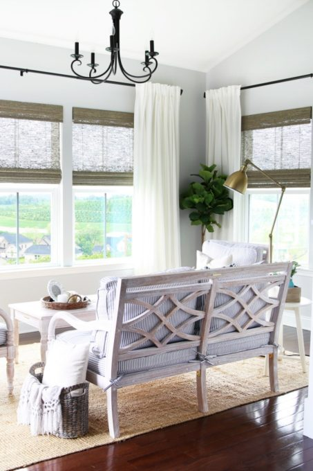 Wooden Love Seat in Summer Sunroom / Morning Room