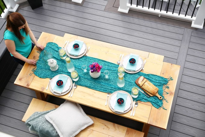 DIY Farmhouse Table and Benches on an Azek Deck with Teal and Pink Accents