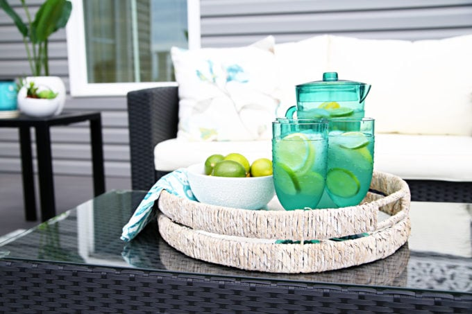 Outdoor Coffee Table with Lemon and Lime Water