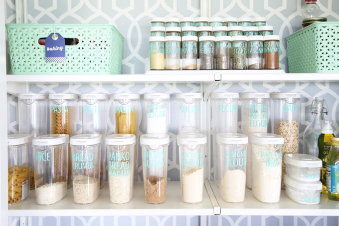 Clear Labeled Storage Containers in the Pantry for Flour, Sugar, and Other Dry Goods; Labels Made with a Silhouette Cameo and Adhesive Vinyl