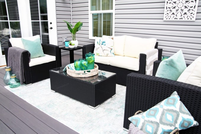 Outdoor Deck Seating Area with Teal Accents