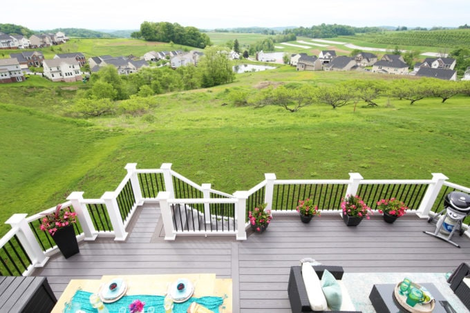 Backyard Deck Created with AZEK Building Products, View of Orchard and Farm Land