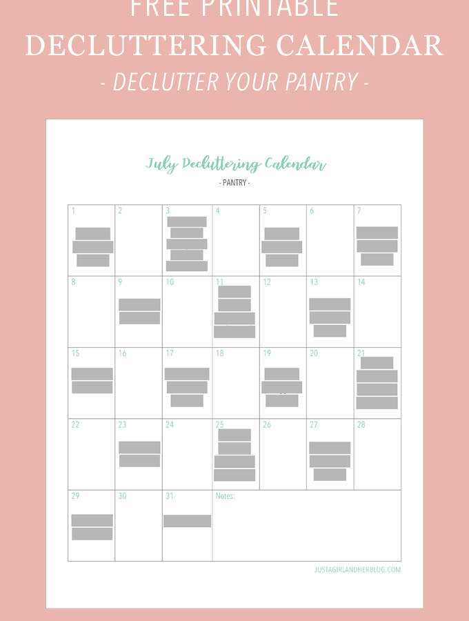 Free Printable Decluttering Calendar - Organize Your Pantry
