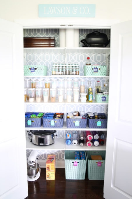 Decluttered and Organized Pantry with Removable Wallpaper and IKEA ALGOT Shelving