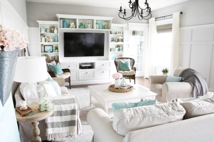 Neutral Living Room with Touches of Pink and Aqua Decorated for Summer, Summer Home Tour