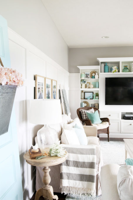 Neutral Living Room Decor with Aqua and Pink Accents, Summer Home Tour