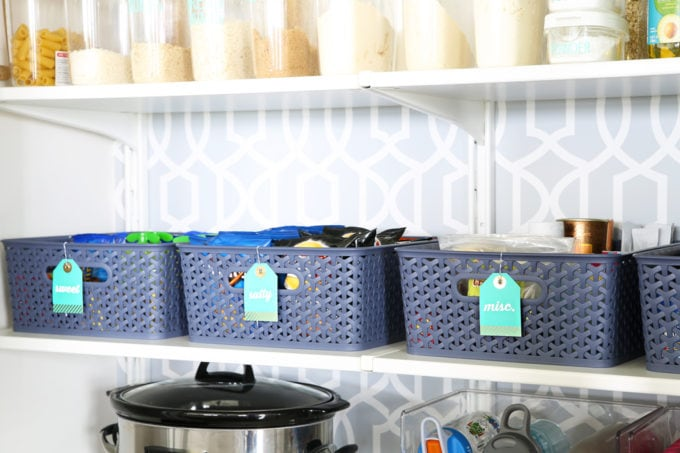 Y-Weave Storage Bins in an Organized and Decluttered Pantry