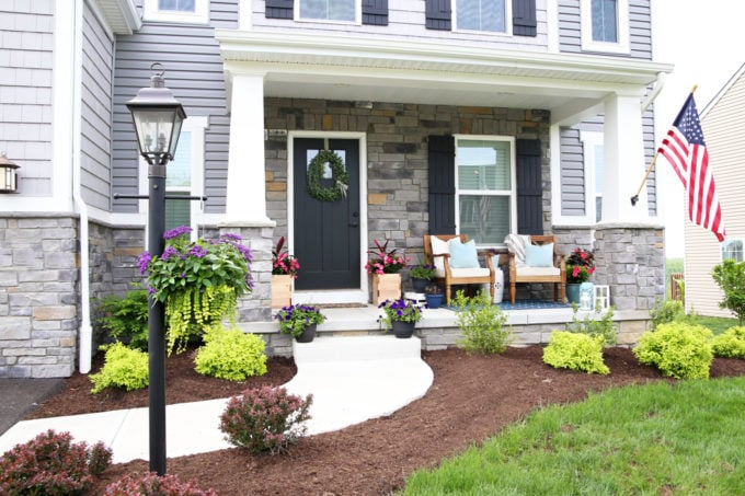 Craftsman Style Porch with Summer Outdoor Decor