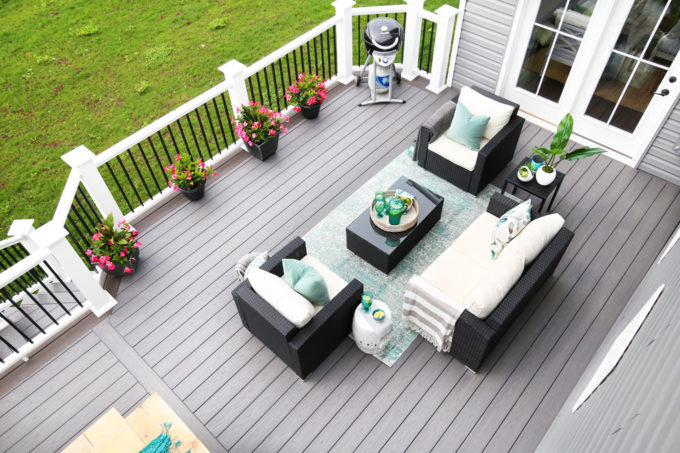 Outdoor Seating Area, Conversation Area with Teal Accents