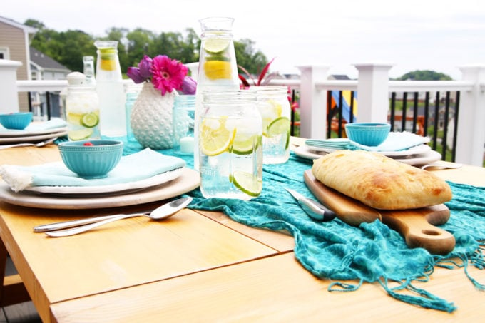 DIY Outdoor Farmhouse Table with Summer Decor
