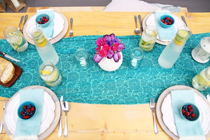 Outdoor Table Setting with a Scarf as a Table Runner