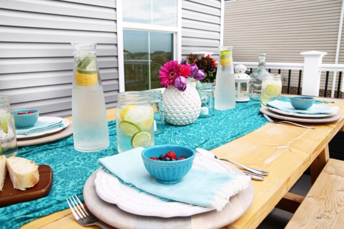DIY Outdoor Farmhouse Table with Teal and Pink Decor, Floral Centerpiece
