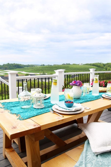 Farmhouse DIY Table and Benches, Outdoor Summer Deck Decorating Ideas