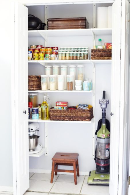 Coat Closet Converted to an Organized Pantry with the IKEA ALGOT System, Declutter the Pantry