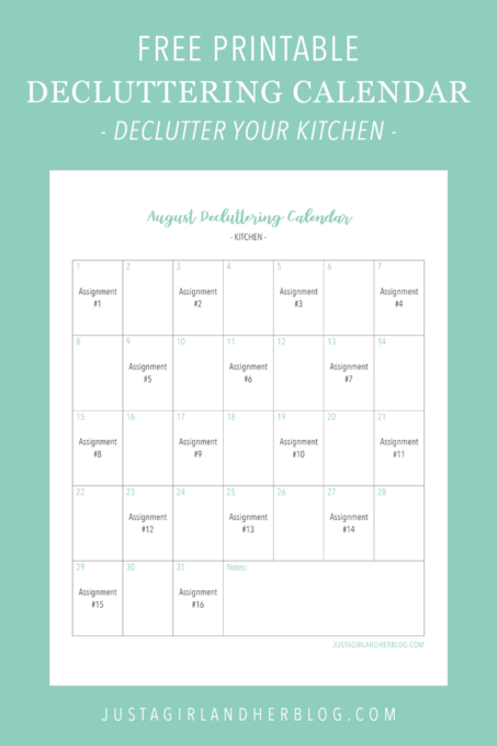 Free Printable Decluttering Calendar for Decluttering the Kitchen
