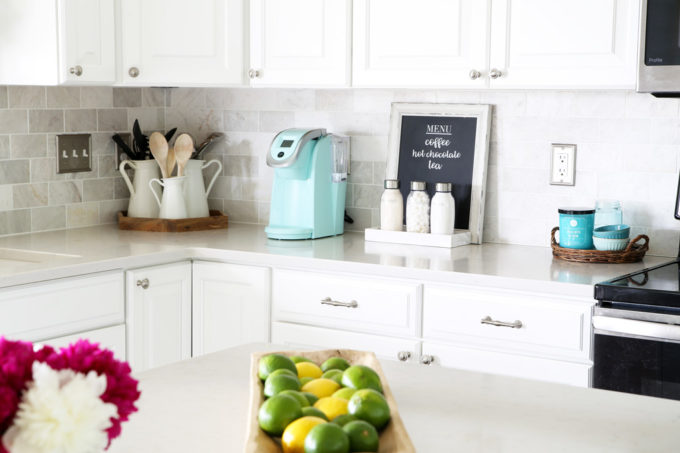 Aqua Keurig Coffee Station in a White Kitchen with Marble Subway Tile
