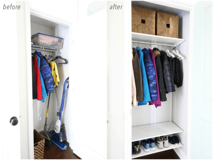Organized Coat Closet Before and After