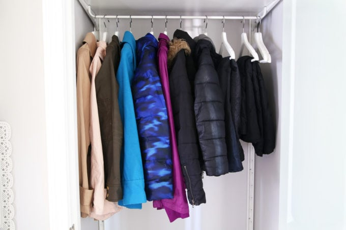 Organized Coat Closet Using the IKEA ALGOT System for Storage