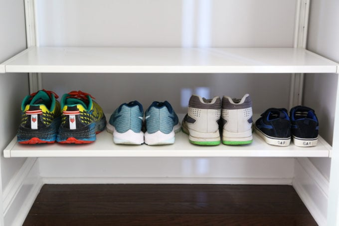 Shoe Storage in an Organized Entry Closet