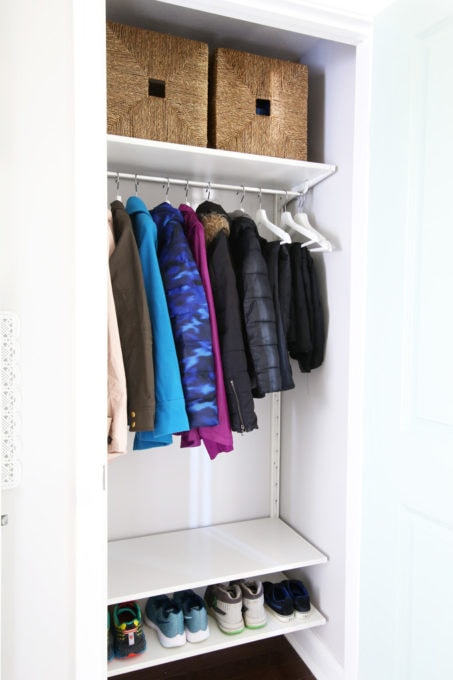 Organized Coat Closet with IKEA ALGOT Shelves