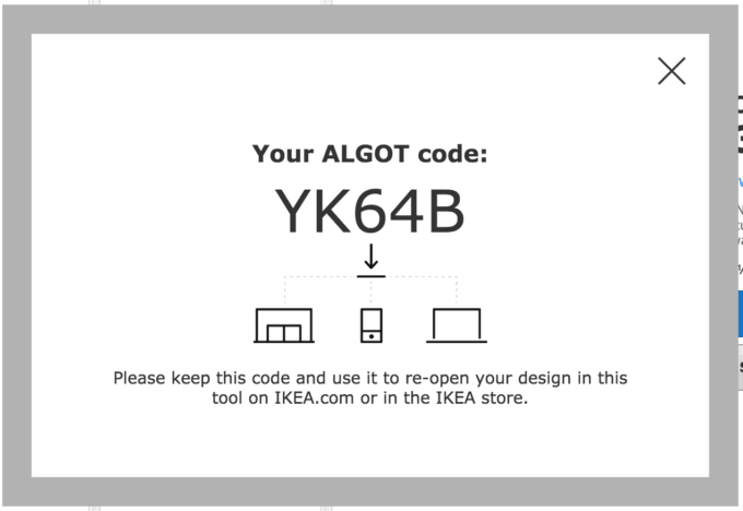 IKEA ALGOT Code to Retrieve Your Design from the Online Planning Tool