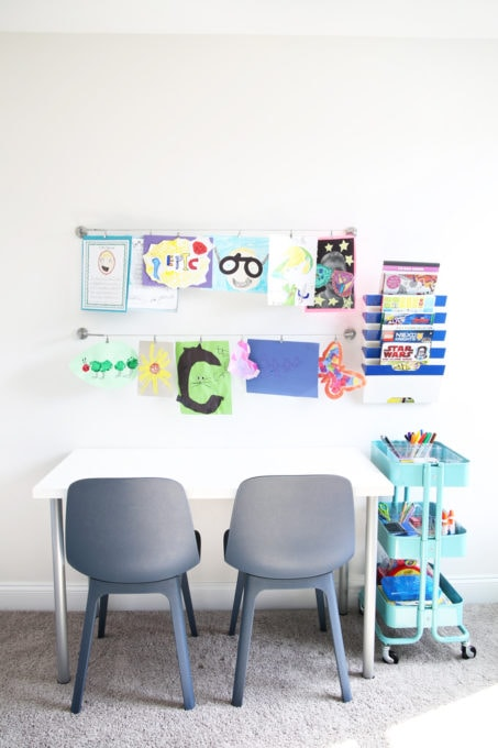 Art Station in an Organized Playroom, Declutter Toys