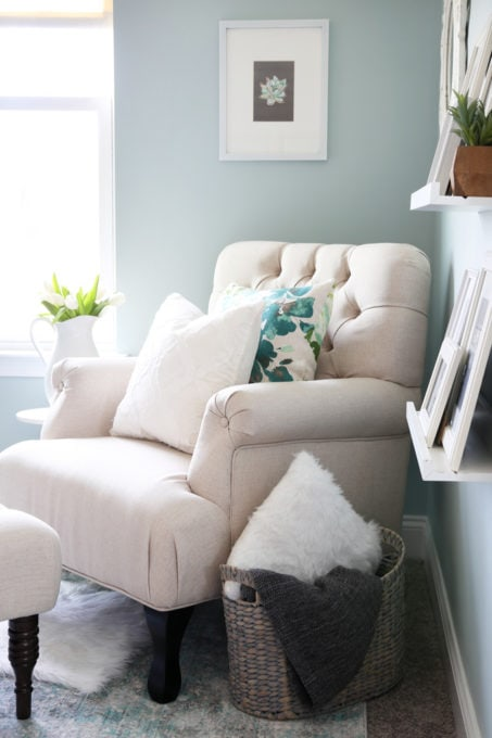 Tufted Armchair and IKEA GURLI Blanket in a Basket in a Home Office