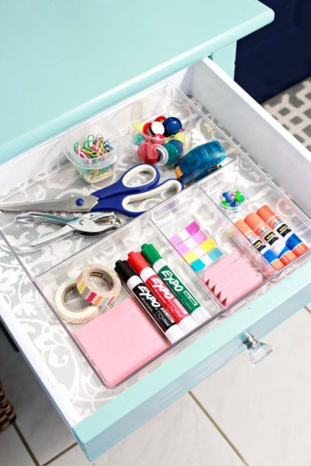 Command Center Drawer with Organized Office Supplies