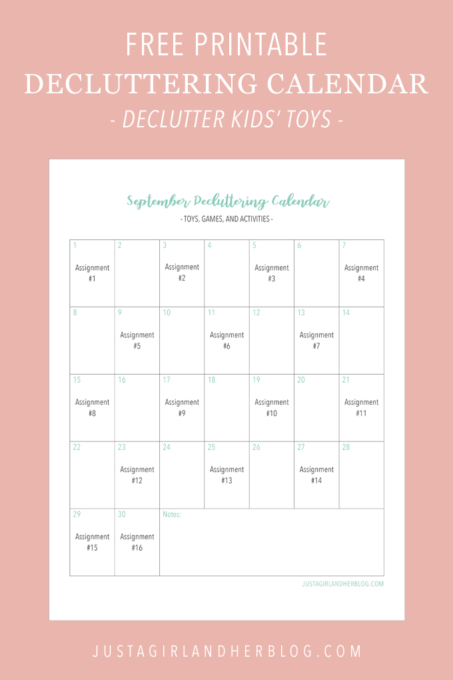 Free Printable Decluttering Calendar for Organizing Toys