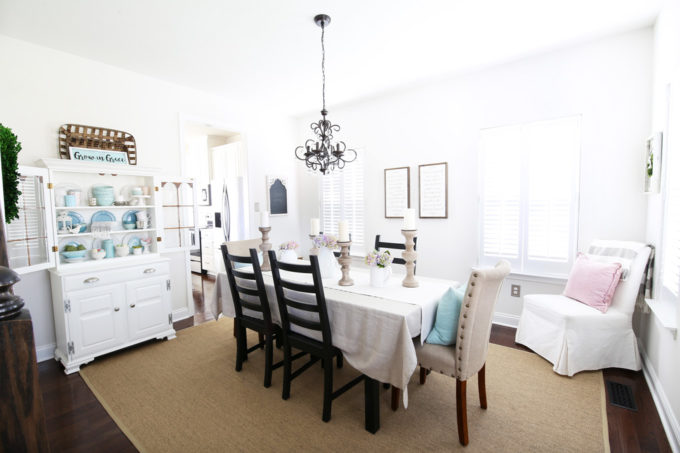 Neutral Dining Room Decor with IKEA OSTED Rug