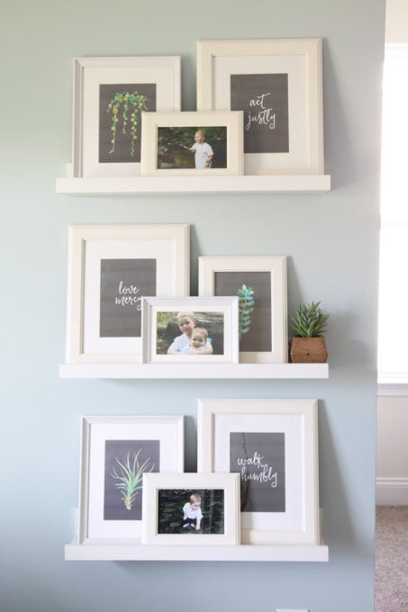 IKEA VIRSERUM Frames on IKEA MOSSLANDA Picture Ledges