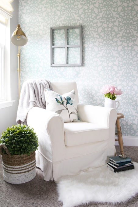 Reading Nook in a Home Office with an IKEA JENNYLUND Chair