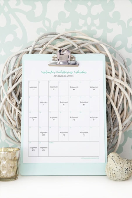 Monthly Decluttering Calendar for Organizing Toys, Games, and Activities for Kids