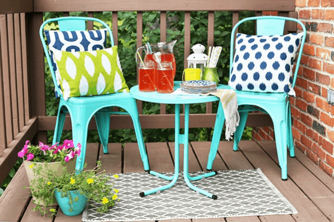 Small Deck Outdoor Decor, Bistro Set