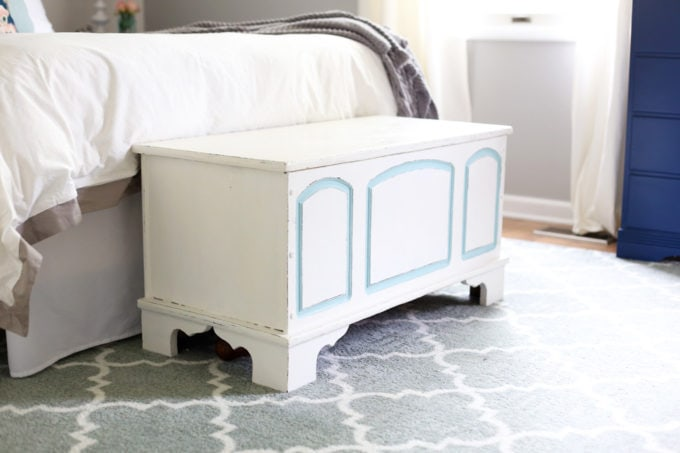 Wooden Trunk, Painted, at the End of the Bed in a Master Bedroom