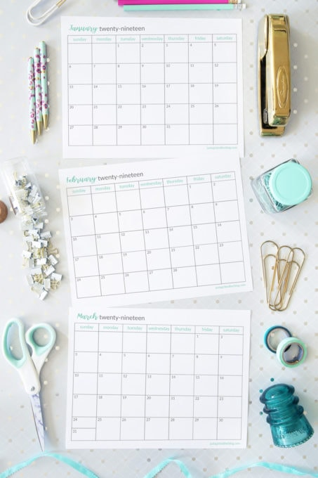 Free Printable Monthly Calendars for 2019