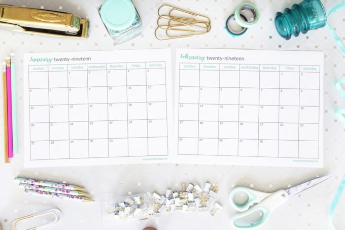 Monthly Calendar Printables for 2019, Free