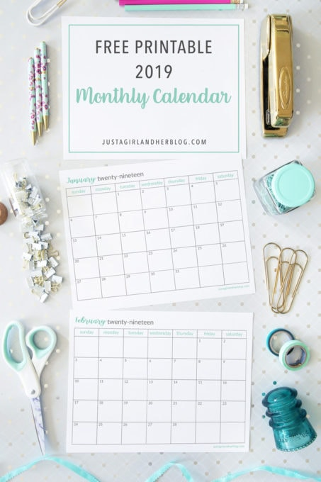 Free Printable 2019 Calendar Just A Girl And Her Blog