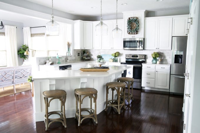 White Kitchen with Neutral and Aqua Fall Decor