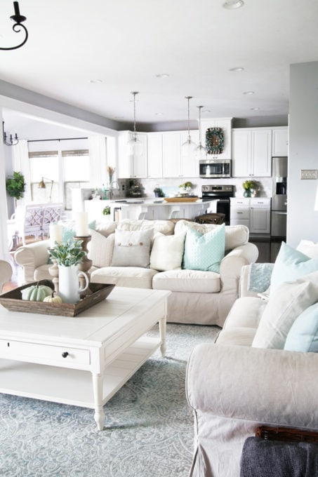 Neutral Living Room with Aqua Accents, Open Floor Plan in a Ryan Homes Palermo