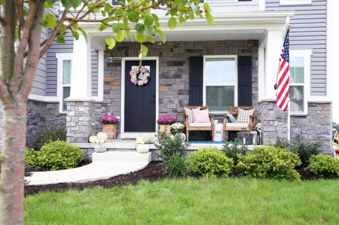 Neutral and Pink Fall Decor on a Craftsman Style Front Porch, Ryan Homes Palermo