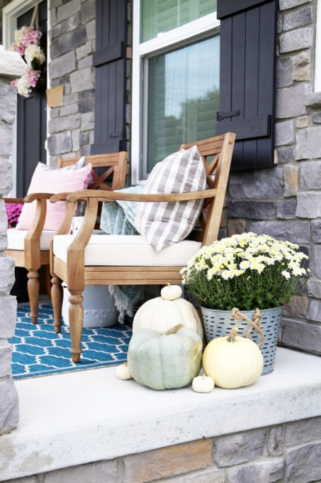 Fall Front Porch Decorating, Mum in an Olive Bucket, Neutral Pumpkins