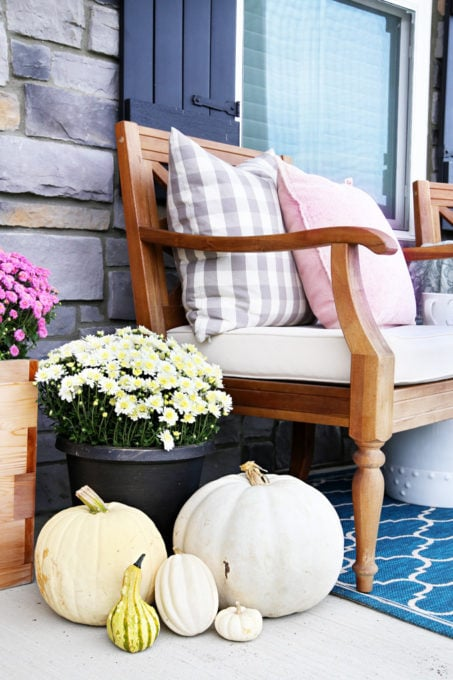 White and Off White Pumpkins and Mums, Fall Porch Decor