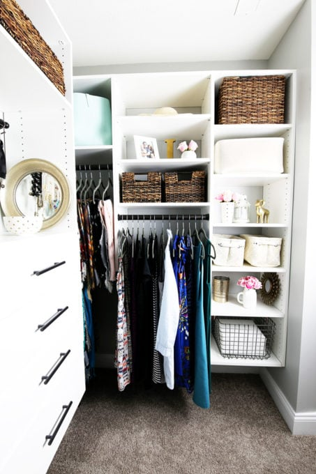 Master Closet with Sheets in Wire Bin