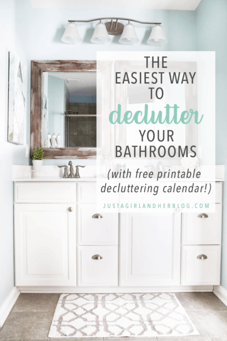 The Easiest Way to Declutter Your Bathrooms (with Free Printable Decluttering Calendar)